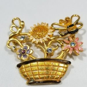 Vintage custom jewelry brooches signed pin enamel